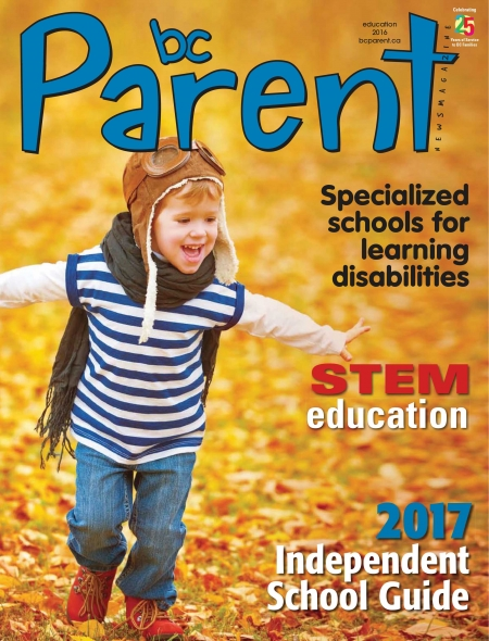 Boy playing in leaves. Education Issue. Cover of BC Parent Magazine October Issue 2016