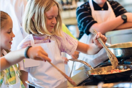 children cooking and practicing life skills