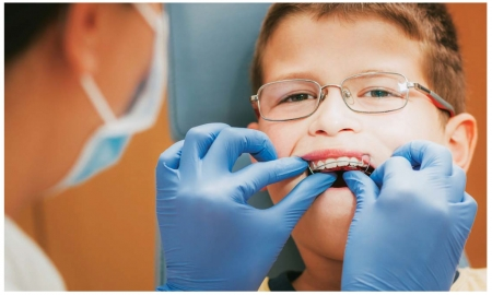 Child getting braces