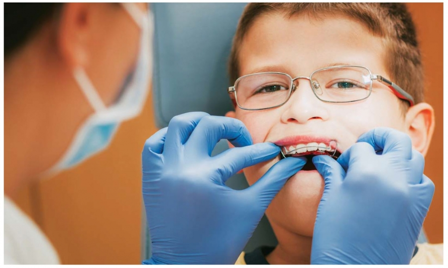 Child getting braces