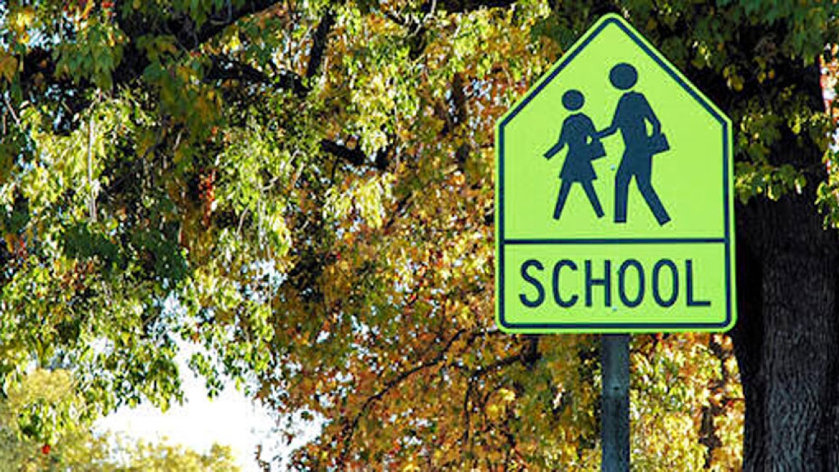 School sign to warn drivers