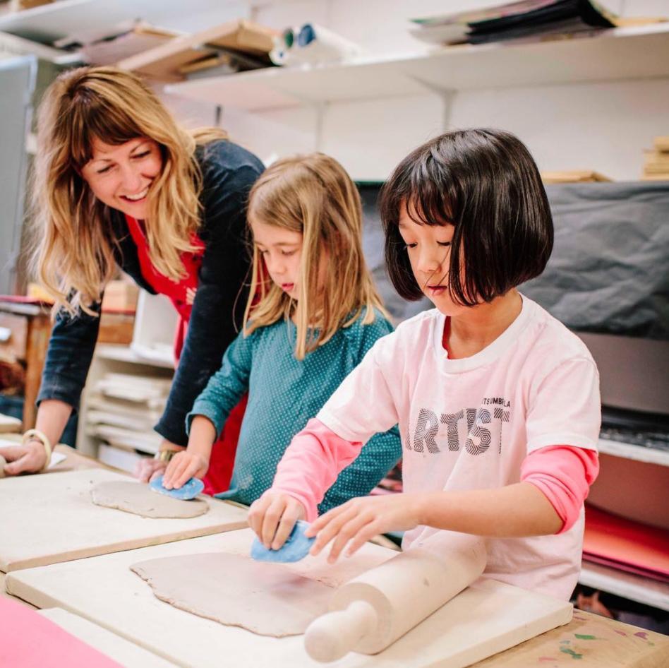 Children making art in class