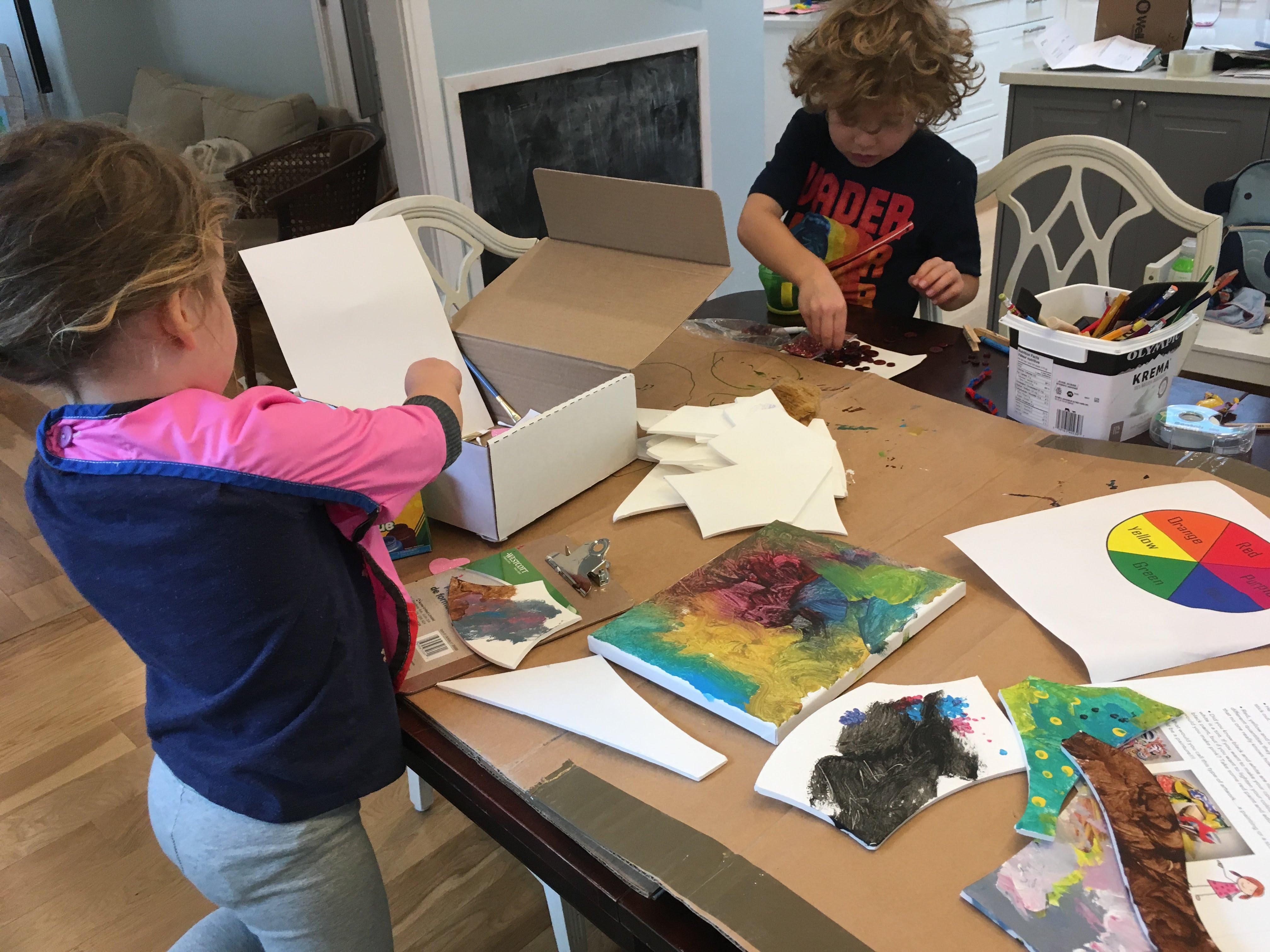 kids with art kit
