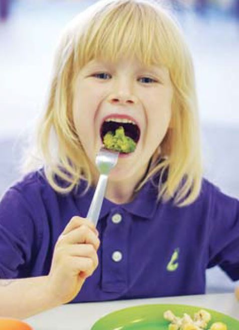 Girl eating healthy lunch