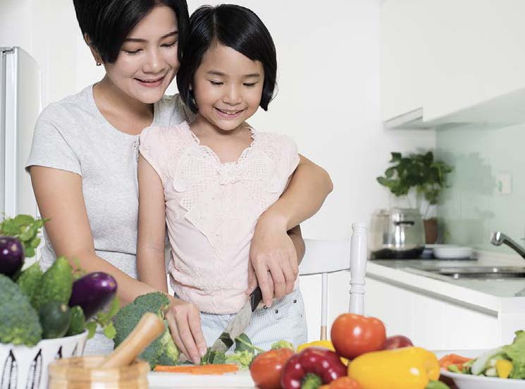stay-at-home Mom & Daughter cooking