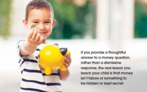 child holding money and piggybank