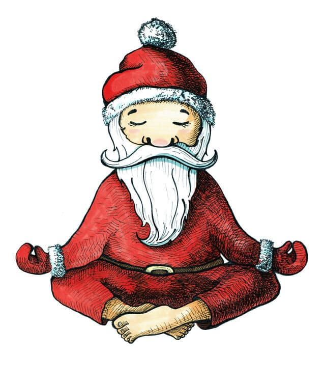 peaceful Santa cartoon doing yoga
